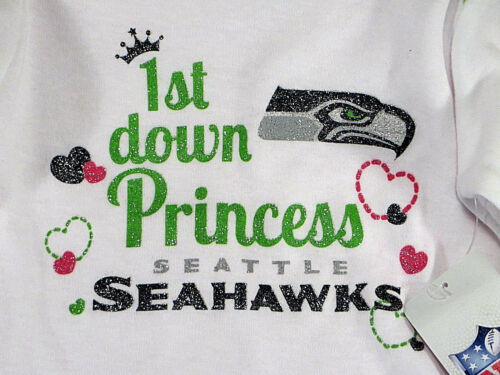Seattle Seahawks 2 One Piece Sets Princess White Pink Baby 6-12 Mo NWT
