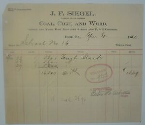 1910-Billhead-Erie-Pennsylvania-JF-Siegel-Coal-Coke-Wood