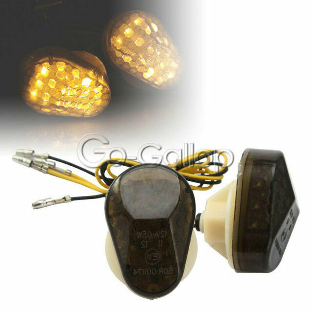 ZZR600- Universal 12V Motorcycle Indicators ZX636 ZX9R 2Pcs Amber Flush Mount LED Turn Signal Lights Compatible with Kawasaki ZX6R ZX7R ZX12R