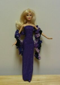"""11 1//2/""""  Doll Clothing Purple Glittery Evening Gown plus hand knit scarf"""