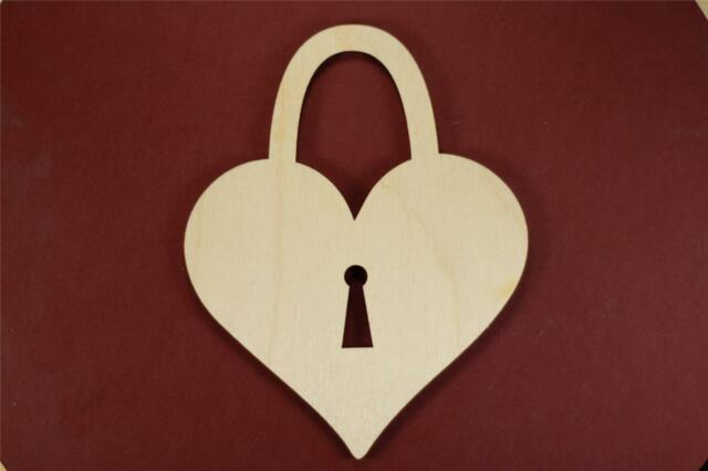 Heart Lock Shape Unfinished Wood Laser Cut Shapes Crafts Variety of Sizes