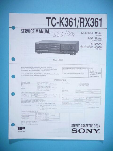 Service Manual Instructions for Sony TC-K361/TC-RX361, Original