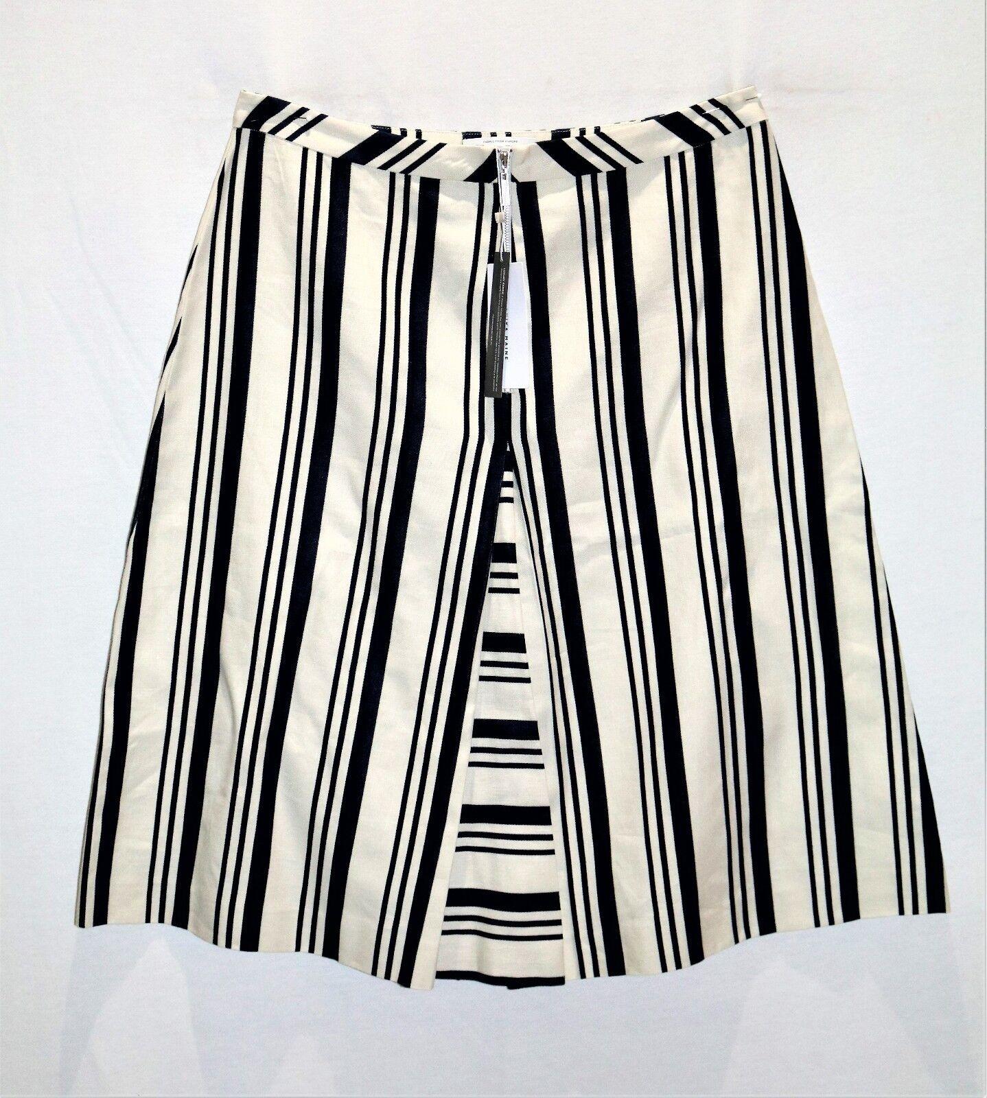 Veronika Maine Brand White bluee Stripe A Line Zip Front Skirt Size 14 BNWT  TD89