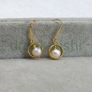2021 New AAA Real Natural South Sea White Pearl Dangle Earrings 14k Gold Hook