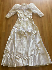 Wedding Dress Floor Length White Satin Size 8-10 with Accessories
