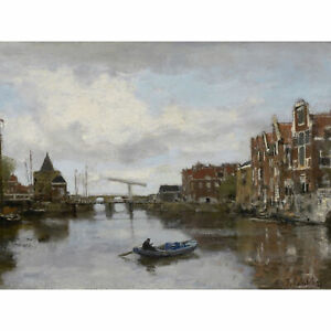 Maris-Dutch-City-Schreierstoren-Amsterdam-1873-Painting-XL-Wall-Art-Canvas-Print