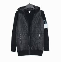 Skyr - Xs - -solid Black Quilted Front Drawstring Waist Hooded Anorak Jacket