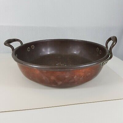 Antique Copper Preserve Jam Pan With 2 Handles 36cm