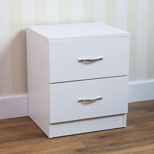 Riano bedside cabinet white 2 drawer metal handles runners for Maniglie per mobili camera da letto