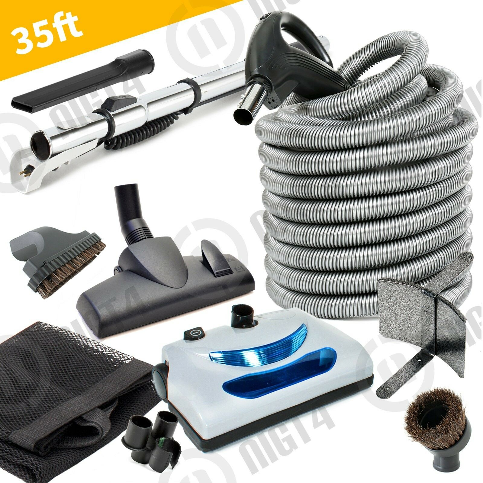 Deluxe Central Vacuum Electric Powerhead 35 Hose and Cleaning Tools Kit  NEW