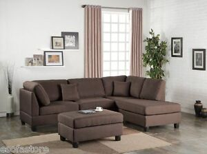 Living Room 3pc Sectional Set Sofa Reversible Chaise W Ottoman
