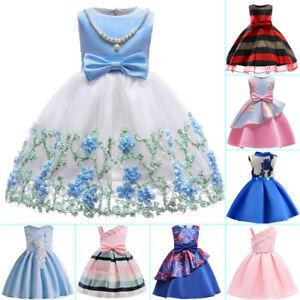 0b09c6ddee55 Flower Girl Princess Dress Baby Kid Party Wedding Bridesmaid Formal ...