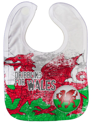 """Dirty Fingers /""""Dribbling for Wales/"""" Baby Feeding Bib All Over Print Football"""