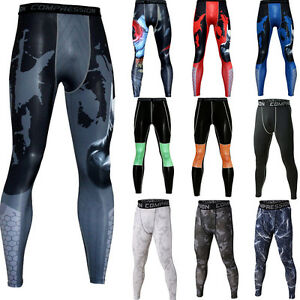 Mens Compression Athletic Leggings Running Basketball Training Gym Long Pants