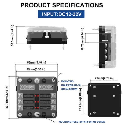 6 Weg Sicherungshalter Fuse Box Sicherungskasten ATO ATC KFZ 12V~32VDC DECC