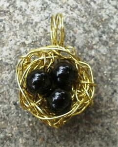 Gold-Tone-Bird-039-s-Nest-Pendant
