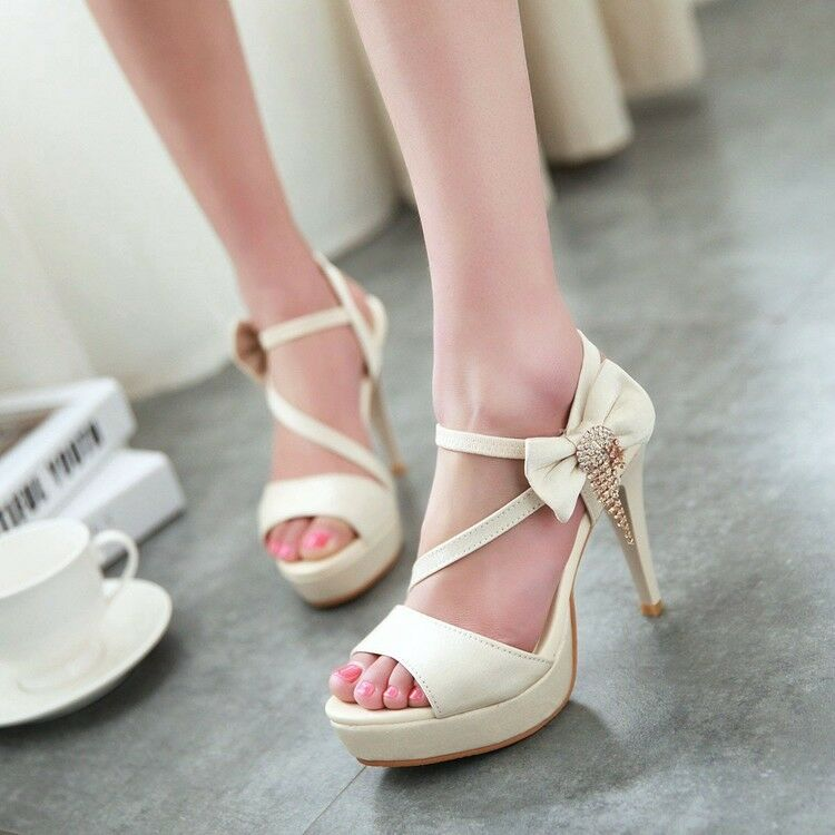 Women Stiletto Heel Bowknot Platform Sandals Ankle Strap Wedding Prom shoes Sexy