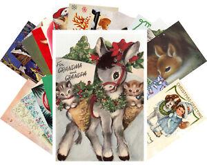 Postcards-Pack-24-cards-Vintage-Christmas-Cute-Funny-Animals-Deer-Cat-CF7008