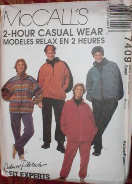 7409 Vintage McCalls SEWING Pattern Mens Womens UNISEX Jacket Pants UNCUT