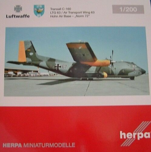 Herpa Wings 1:200 transall c-160 Luftwaffe 50+67 ltg63 dérision Air Base 559560