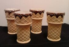 Oneida Kitchen Waffle Cone Ice Cream Cups Soda Float Set of 4