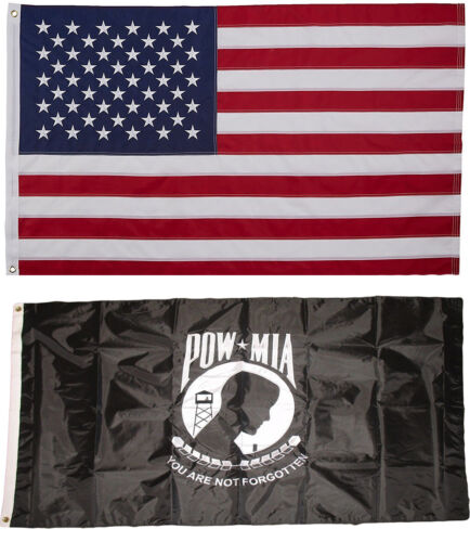 USA and Pow Mia Flag 3x5 EMBROIDERED 2 double sided Flag Wholesale Lot