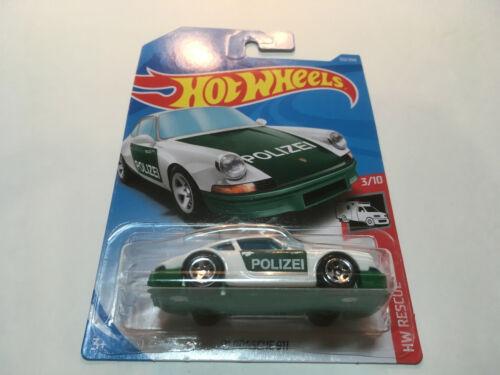 Hot Wheels HW Rescue 1971 Porsche 911 Polizei German Police Diecast Car 1:64