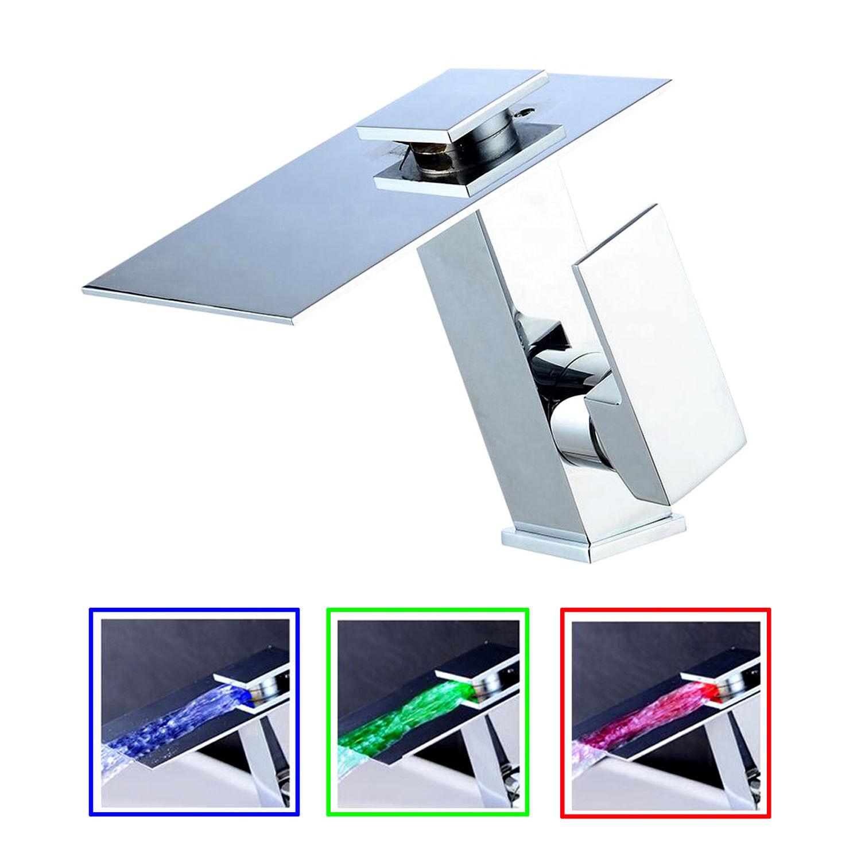 Designer LED Bad Wasserfall Armatur   RGB Wasserhahn Waschtisch Badarmatur