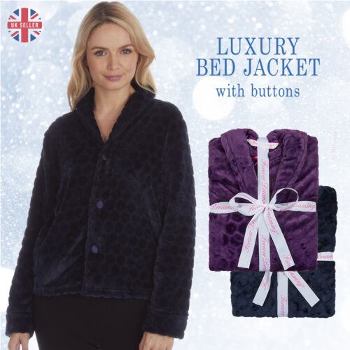 Womens Luxury Bed Jacket Embossed Spot Shawl Collar Traditional Button Housecoat