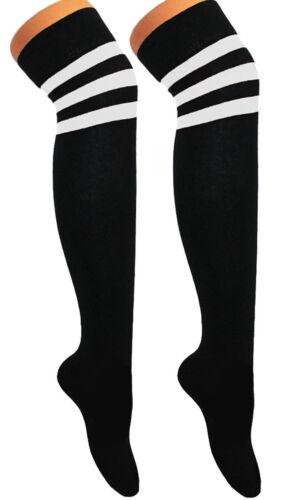 Ladies Mens Stripe Over Knee High Sport Referee Hen Do Night 118 Football Socks