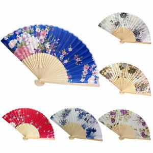 Folding-Hand-Fan-Lace-Bamboo-Handheld-Peach-Flower-Pattern-Girls-Women-Gift