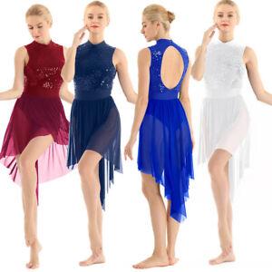 Women Mesh High Low Leotard Dress Latin Lyrical Modern Dance Ballet Dancewear