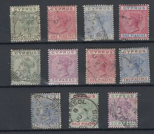 Cyprus-QV-1882-1884-Collection-Of-11-Values-VFU-JK893