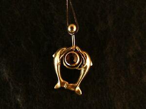 Piercing-24-Karat-Gold-Anhaenger-925-Silber-Delfine-Bauchnabel-Stein-Orange