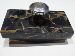 Ancien buvard à bascule de bureau marbre et métal blanc sans