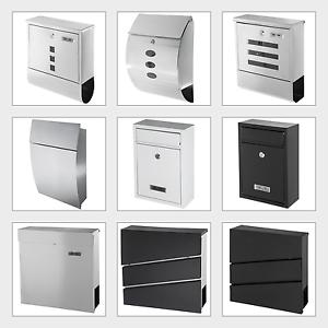 EDELSTAHL-Briefkasten-Postkasten-Zeitungsfach-Zeitungsrolle-Wand-Mailbox-Design