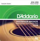3 Sets D'Addario EJ18 Phosphor Bronze Heavy Acoustic Guitar Strings 14 - 59