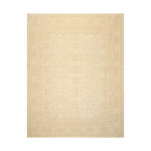 8'2'' x 10'1'' Hand Knotted 100% Wool Peshawar Traditional Muted Area Rug Beige