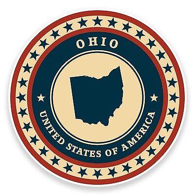 2 X 10cm Ohio Usa Vinyl Sticker Laptop Car Travel Luggage Tag Map America #9435 De Laatste Mode