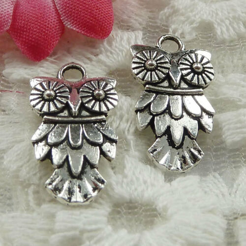 Free Ship 210 pieces Antique silver owl charms 20x11mm #1379