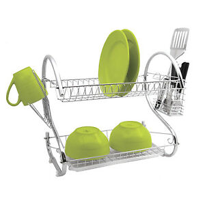 DELUXE-2-TIER-CHROME-KITCHEN-DRIP-DISH-DRAINER-PLATES-RACK-GLASS-HOLDER