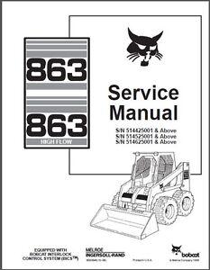 Bobcat 863 skid steer loader service repair manual s/n 514625001 & ab….