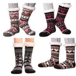 Women Sherpa Socks Winter Fuzzy Fleece Cotton Sock Rubber Button Anti Slip 5-11