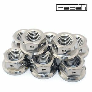 3x M10 Titanium Hex Flange Nut Drilled lock wire safety racing x 1.25  sprocket