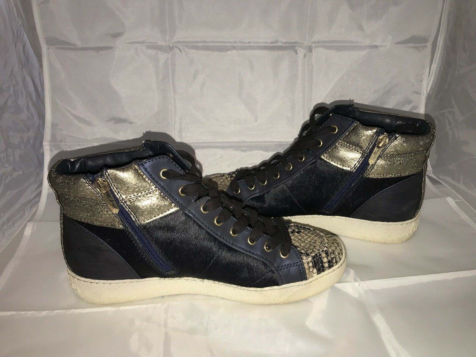 Sam Edelman Britt High Top Sneaker Navy bluee Dyed Cow Fur w  Snake Skin 9.5