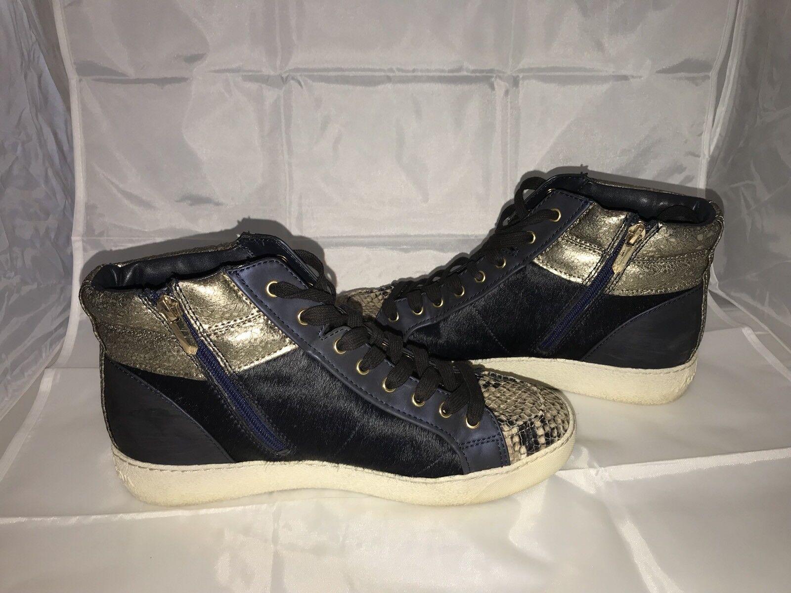Sam Edelman Britt High Top Sneaker Navy bluee Dyed Cow Fur w  Snake Skin 9.5