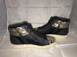 9253126c1e17c Sam Edelman Britt High Top Sneaker Navy Blue Dyed Cow Fur w  Snake ...