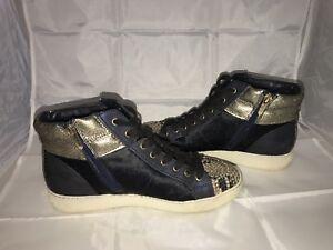 e0a57a066d88c Sam Edelman Britt High Top Sneaker Navy Blue Dyed Cow Fur w  Snake ...
