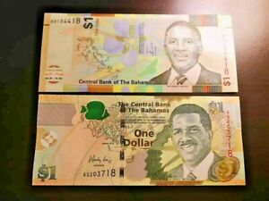 UNC Bahamas 1 Dollar 2017 77 NEW CRISPe TDLR Police Band Pindling Uncirculated