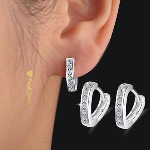 Women-039-s-Crystal-Rhinestone-925-Sterling-Silver-Pltd-Hoop-Huggie-Heart-Earrings
